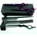 Rechtshandig Kappersschaar - Set Purple + Styling razor - Met Coupeschaar & Uitdunschaar Effileerschaar - Kappersset 6.0 inch