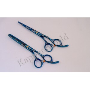 Kapperschaar Set Blue Flower 6.0 inch